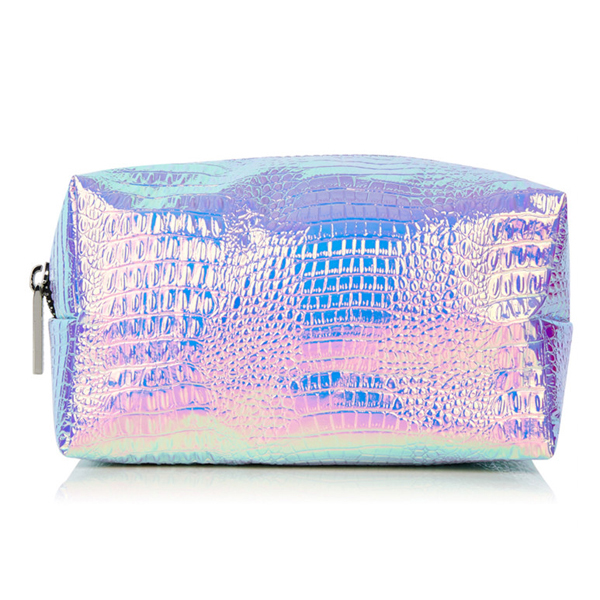 Custom New Fashion Pu Leather Holographic Iridescent Makeup Bag Cosmetic Carre